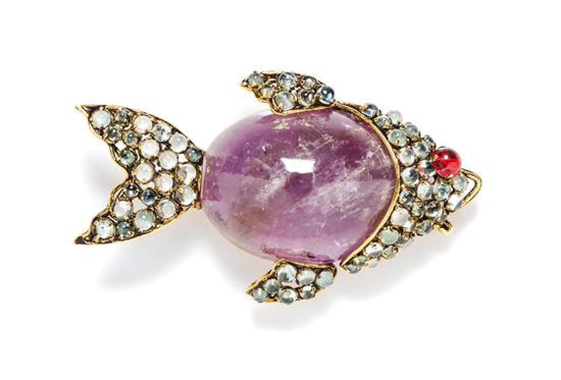 An Iradj Moini Amethyst, Quartz and Glass Fish Brooch,