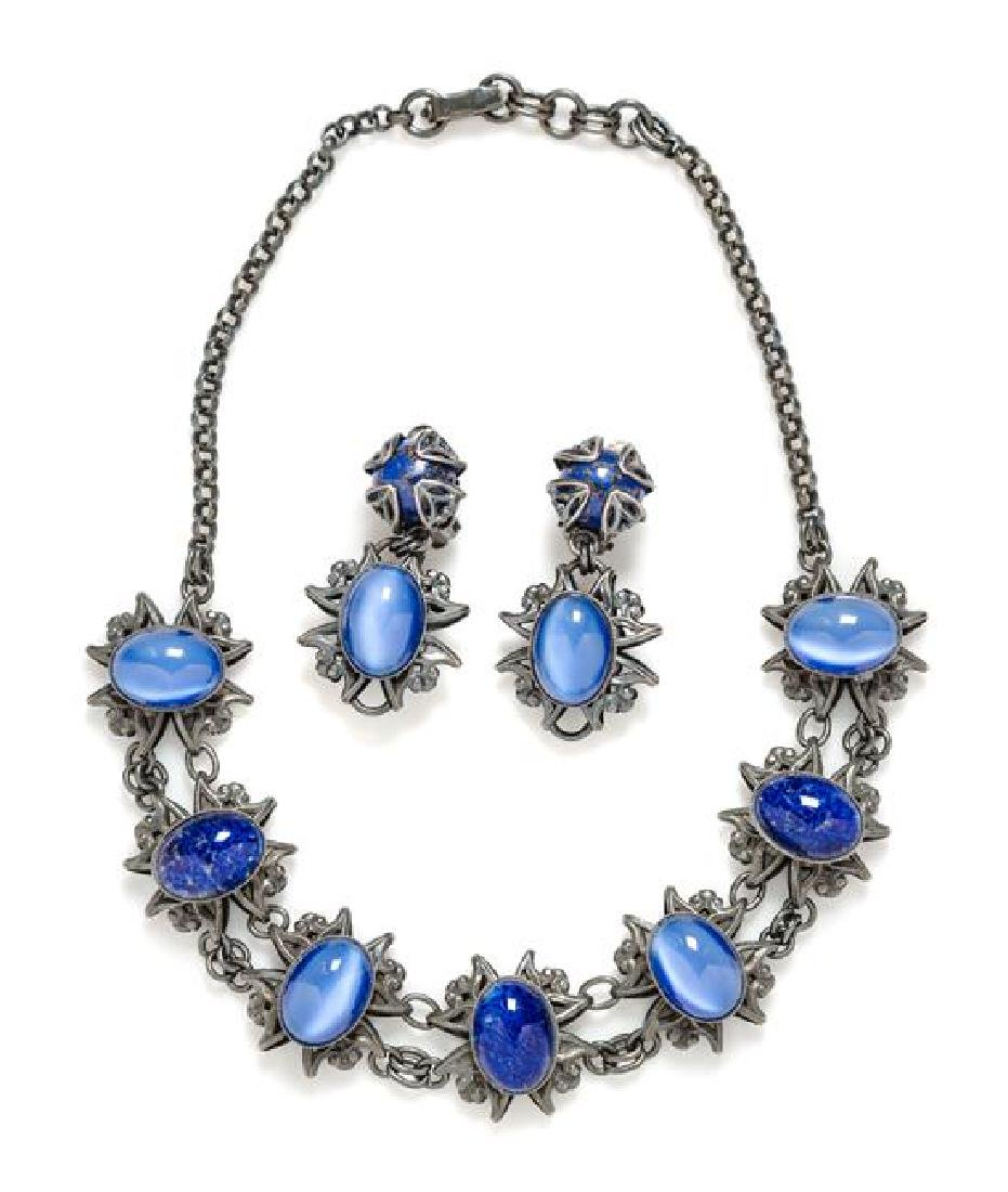 A Jean-Louis Blin Metal Necklace and Earclip Set,