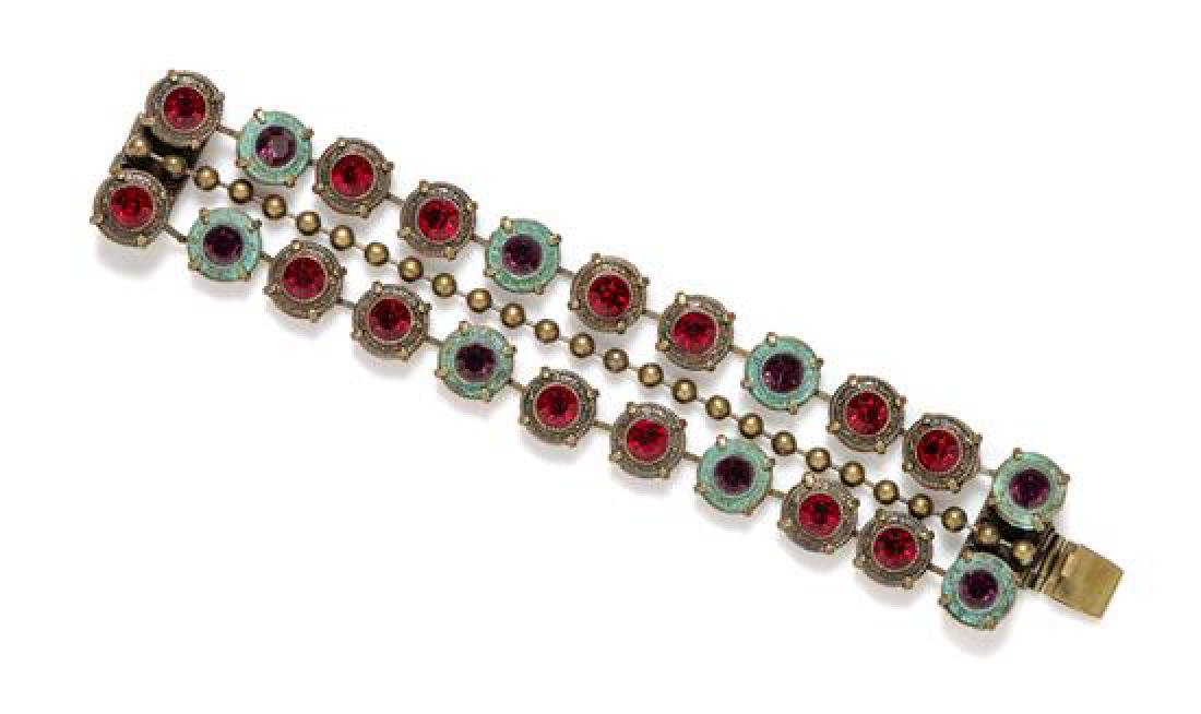 A Jean-Louis Blin Metal Three Strand Bracelet,