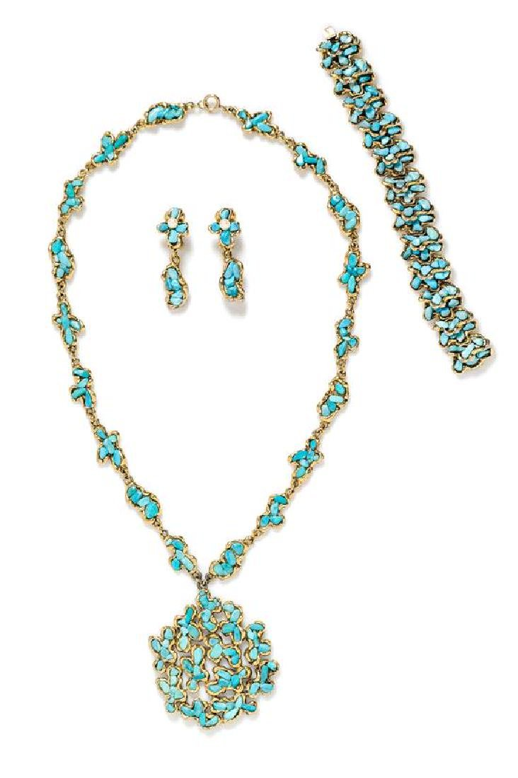 A Swoboda Goldtone and Turquoise Parure,
