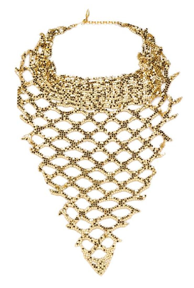 A Whiting & Davis Goldtone Mesh Bib Necklace and
