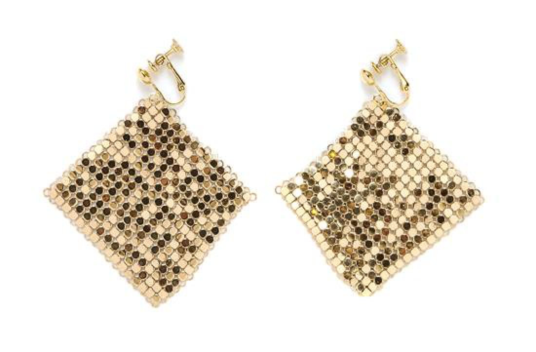 A Whiting & Davis Goldtone Mesh Bib Necklace and - 2