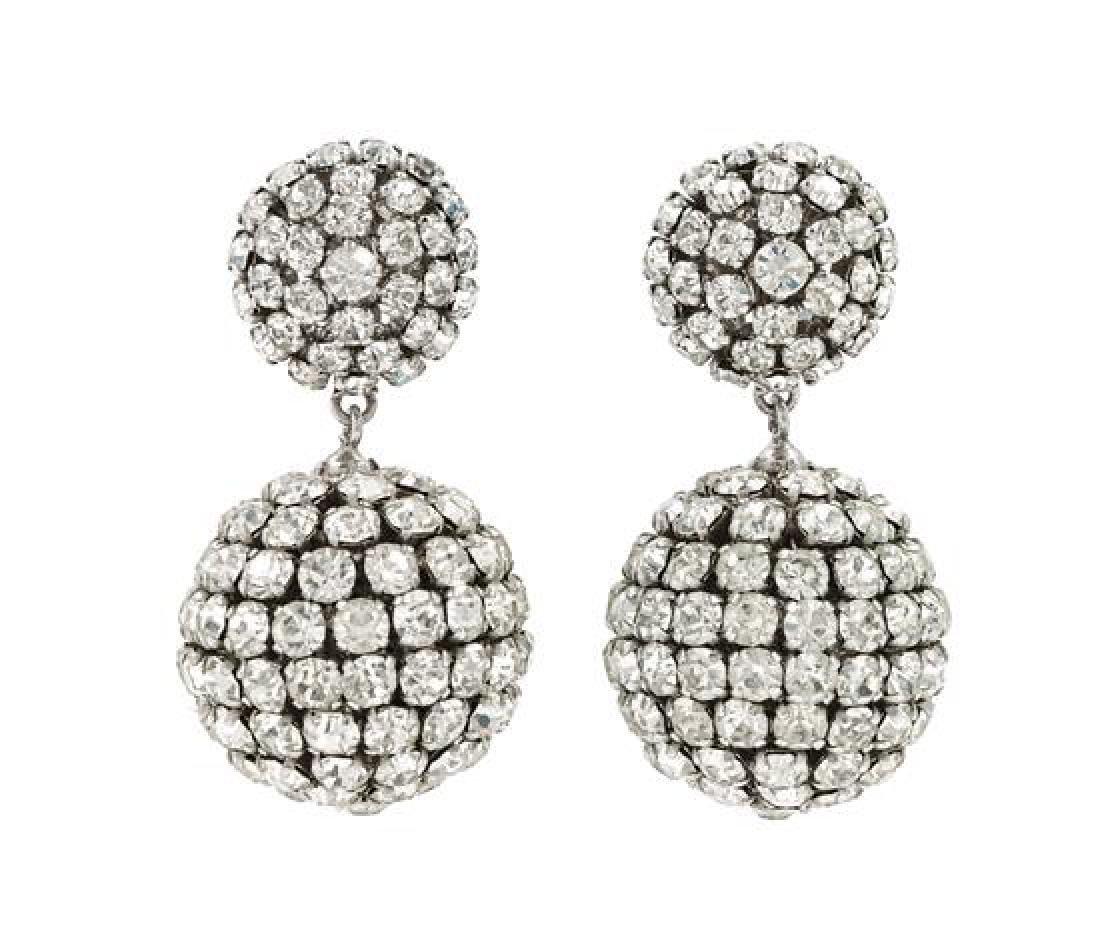 A Pair of Christian Dior Rhinestone Drop Earclips,