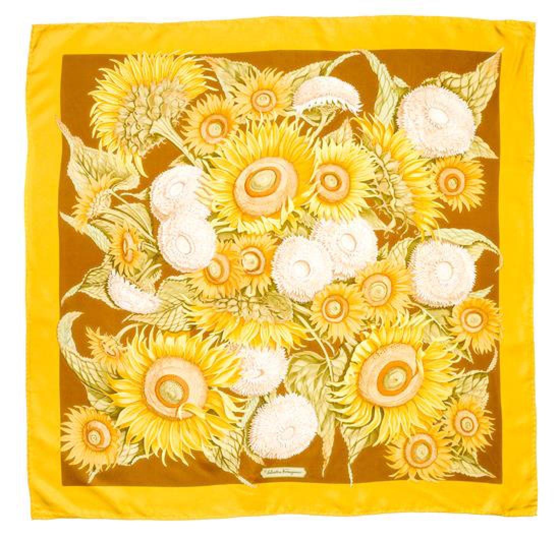 A Ferragamo 90cm Goldenrod Silk Sunflower Scarf,