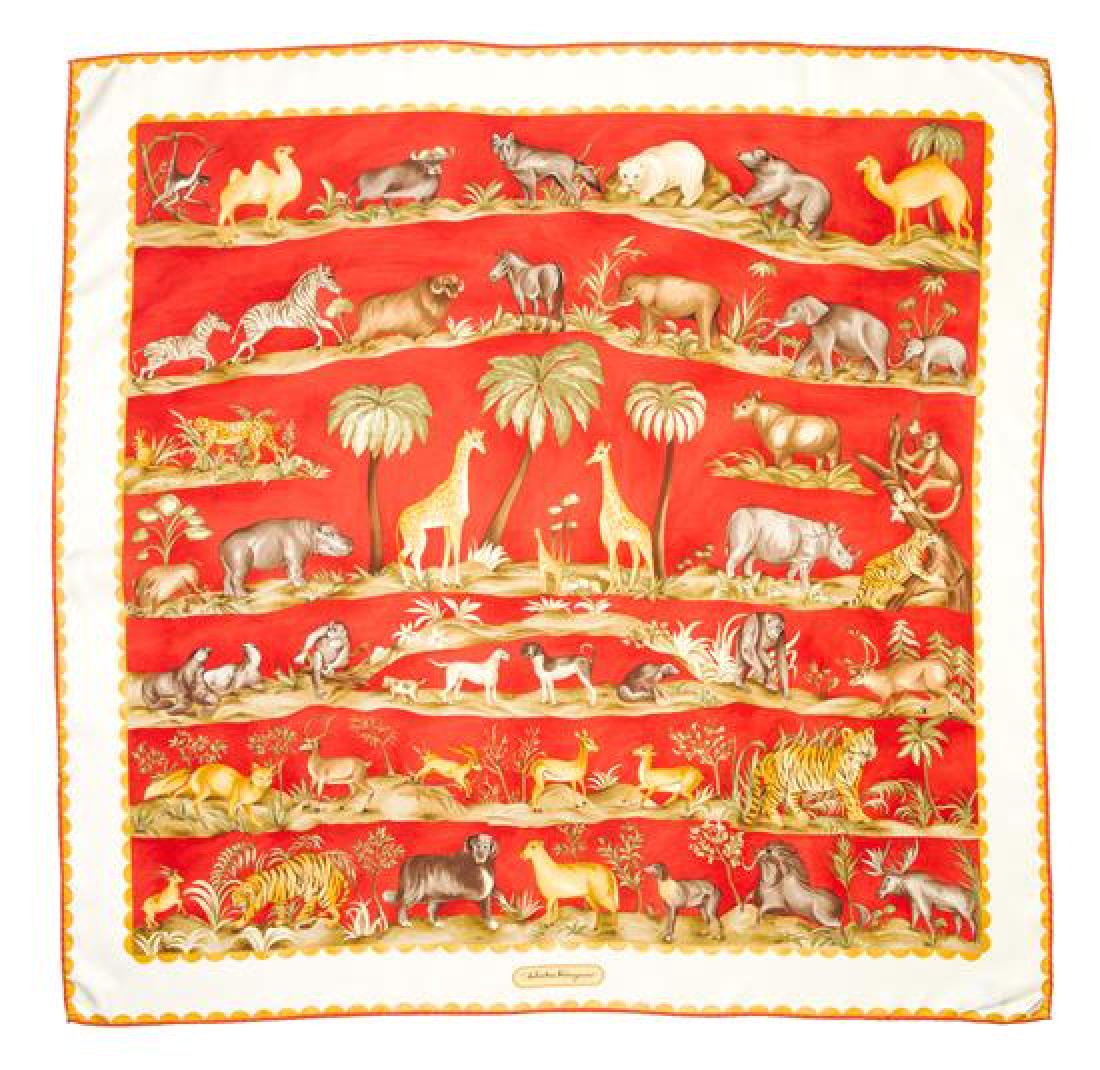 A Ferragamo 90cm Red Silk Animal Print Scarf,