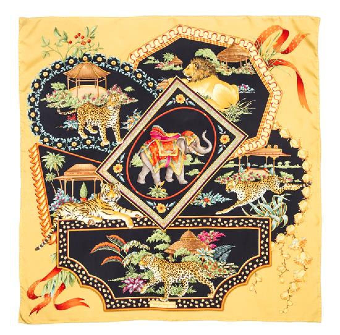 A Ferragamo 90cm Gold Silk Animal Print Scarf,