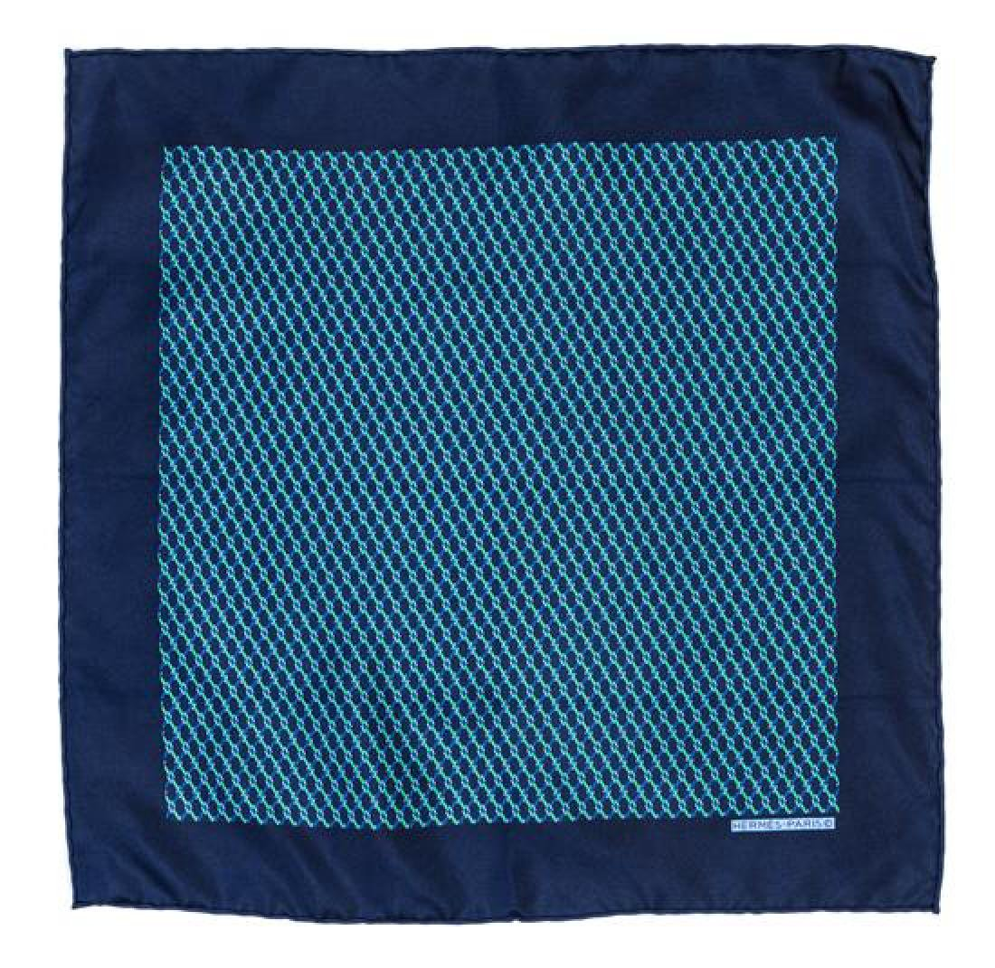 An Hermes Navy Silk Pocket Square,
