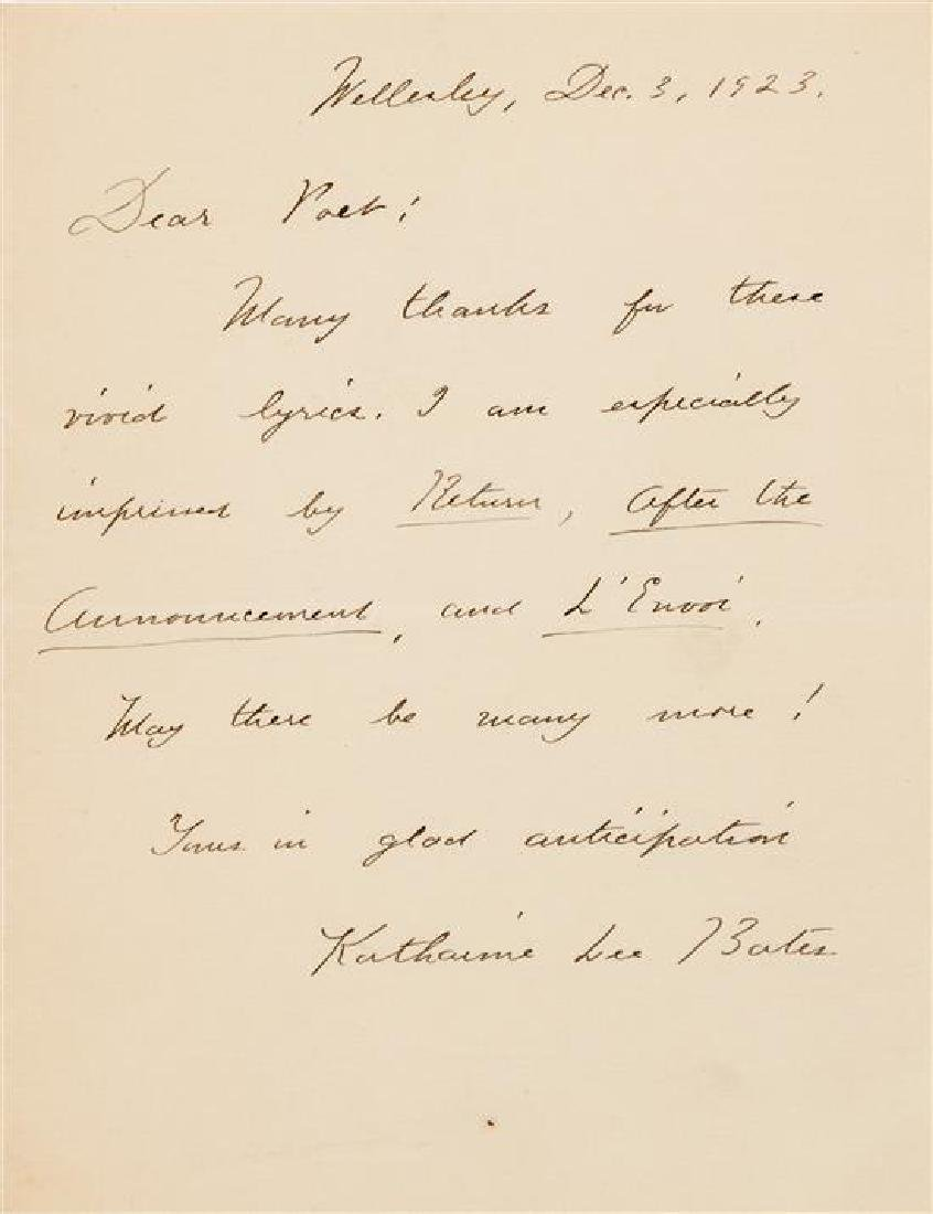 BATES, Katharine Lee (1859-1929).