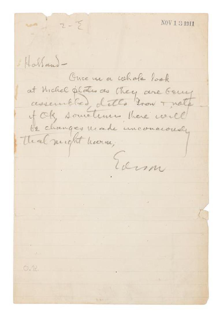 EDISON, Thomas (1847-1931).