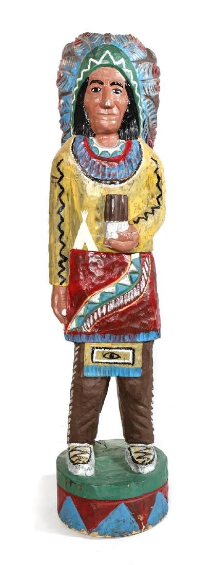 Polychrome Carved Wood Cigar Store Indian Height 55 1/2