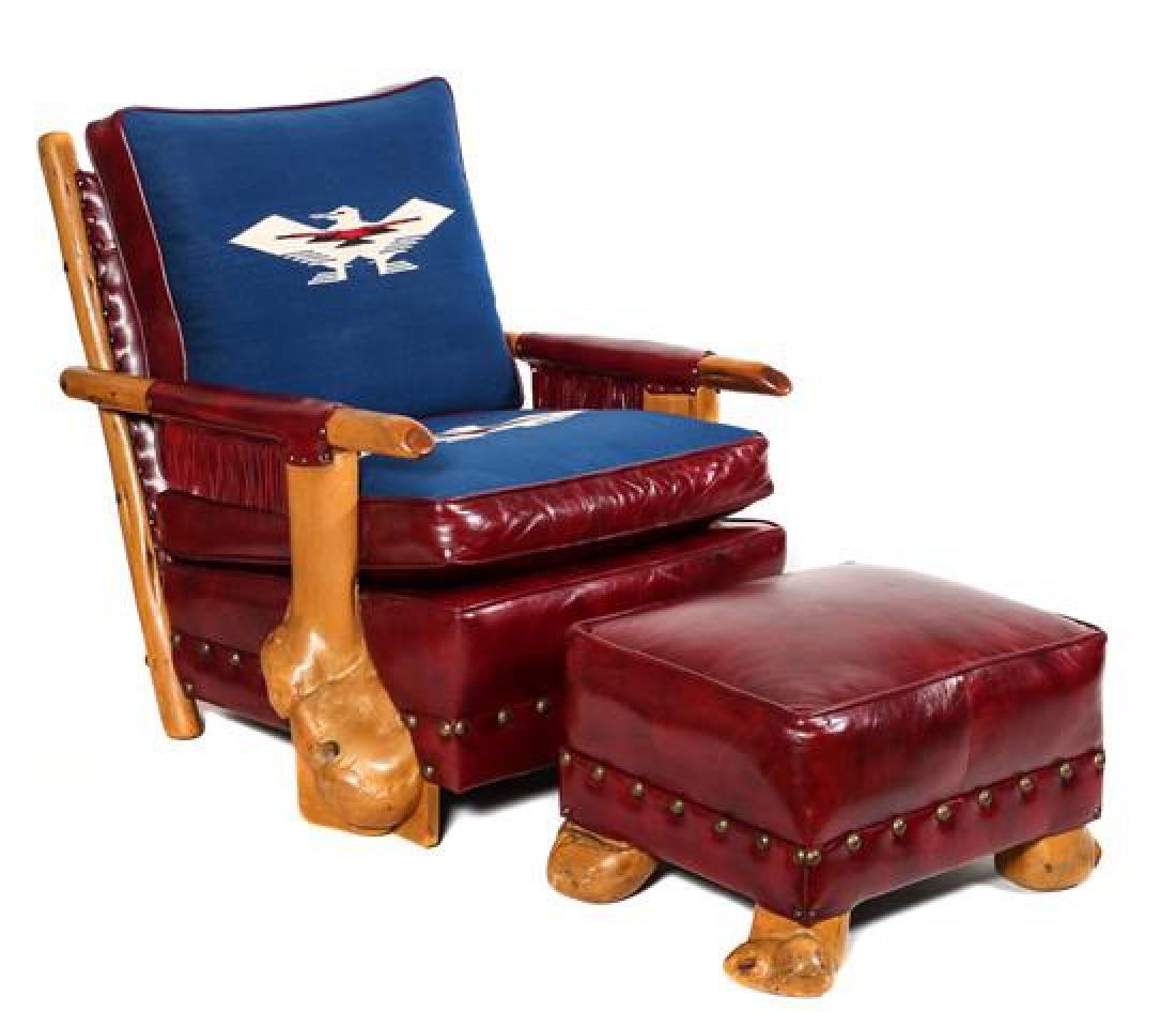 Uptown Furniture Burled Wood Club Chairs and Ottoman