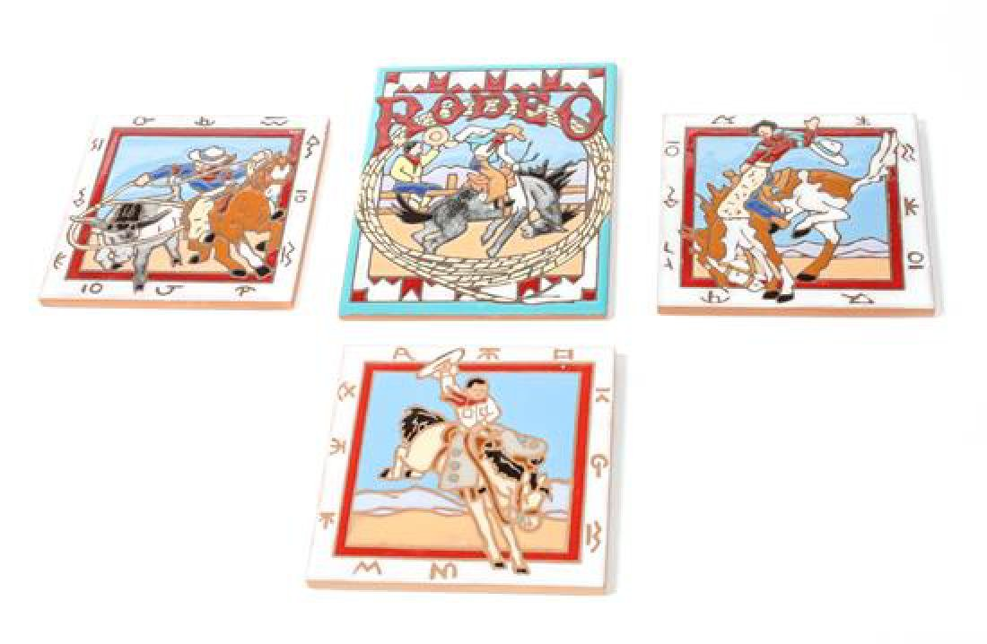 Group of Four Ceramic Rodeo Cowboy Tiles Largest 8 x 6