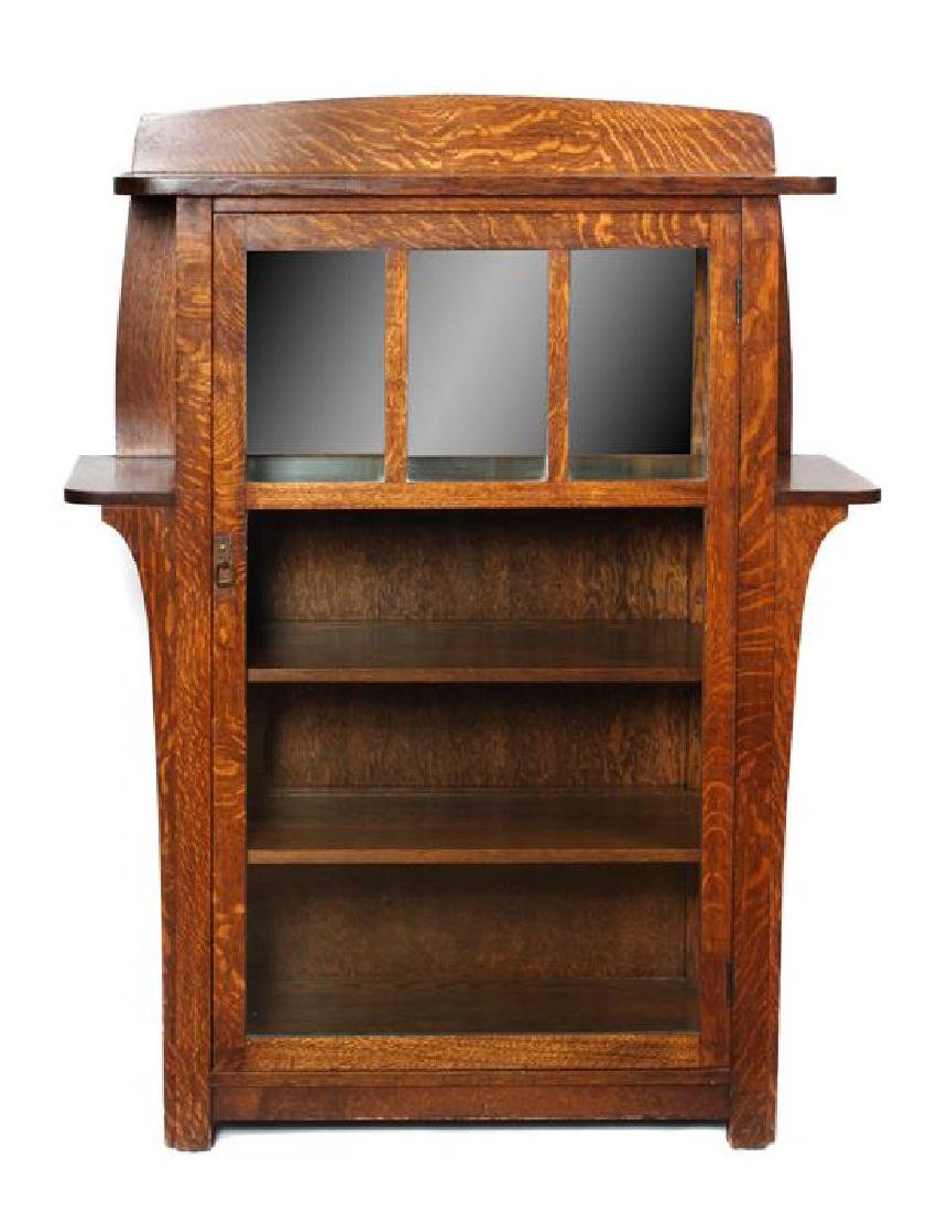American Arts & Crafts Oak Cabinet Display by Charles