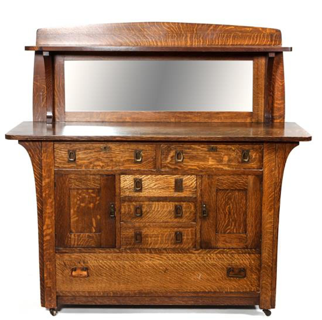 American Arts & Crafts Oak Mirror Backed Sideboard by