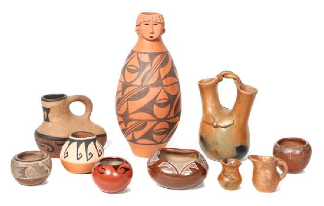 Group of Pueblo Pottery Height of tallest 12 inches