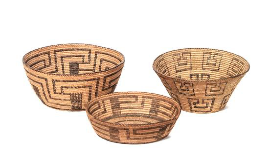 Three Pima Baskets Height of largest 4 1/2 x diameter