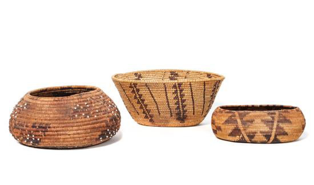 Two Pomo Baskets Diameter of larger 5 1/2 inches
