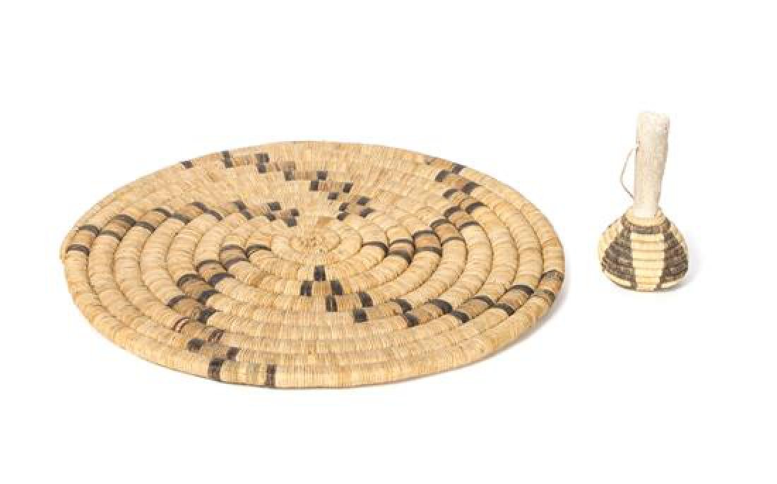 Two Hopi Basketry Items Diameter of tray 15 inches