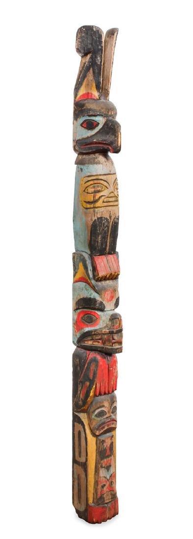 Haida Polychrome Totem Pole Height 72 1/2 x width 6 x