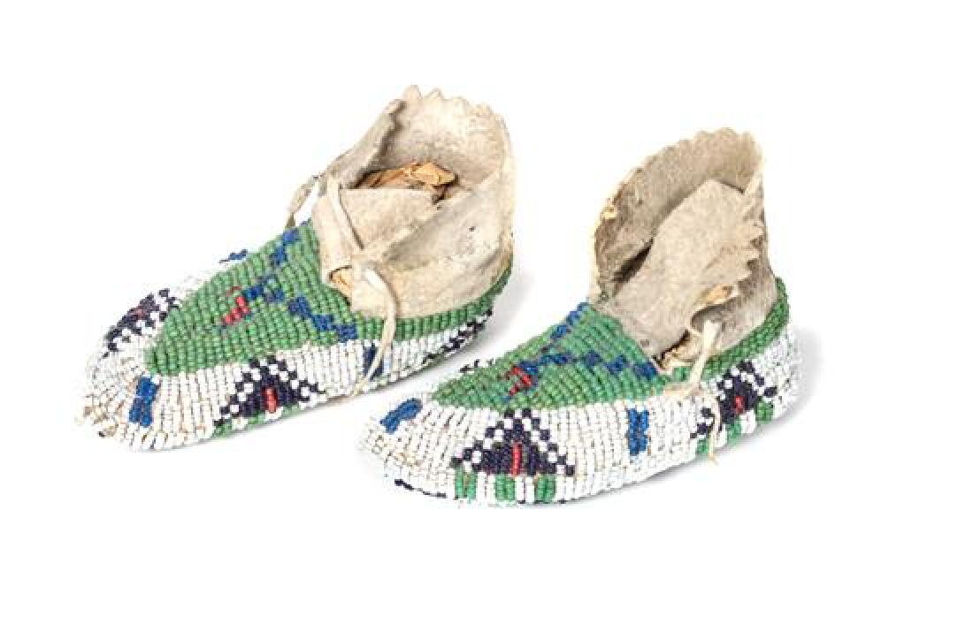 Pair of Sioux Beaded Infant Moccassins Length 4 inches