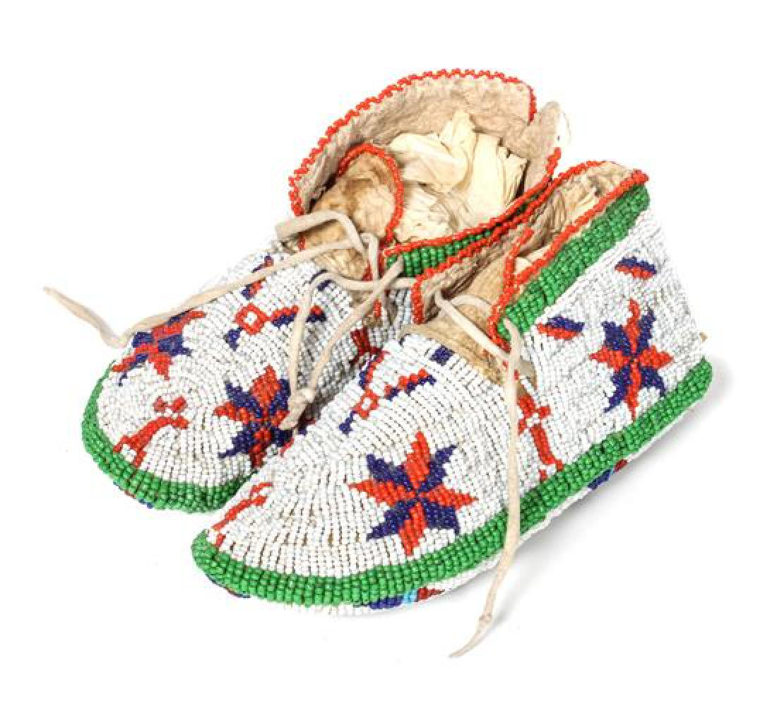 Pair of Sioux Beaded Child's Moccassins Length 7 inches