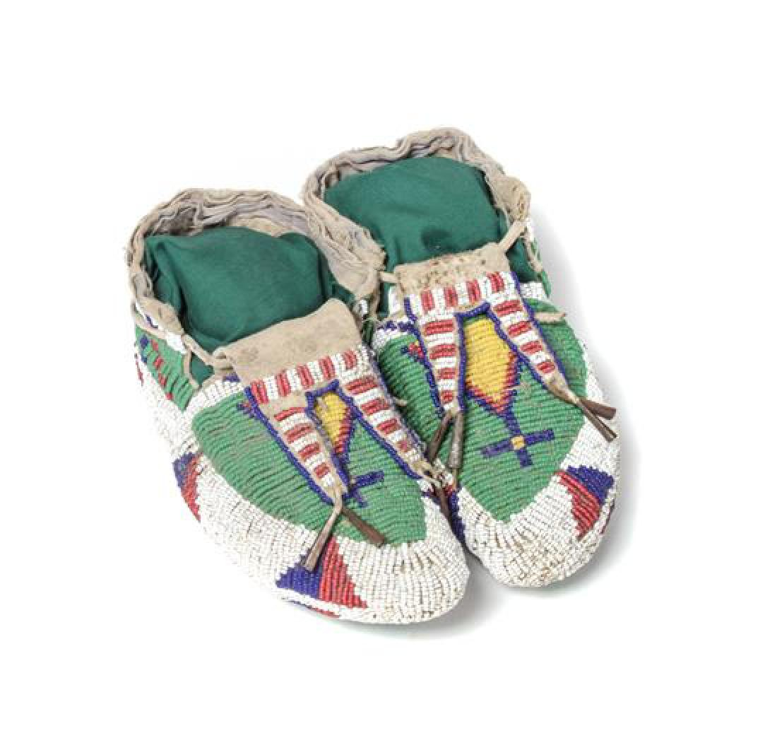 Pair of Child's Fully Beaded Ceremonial Moccasins