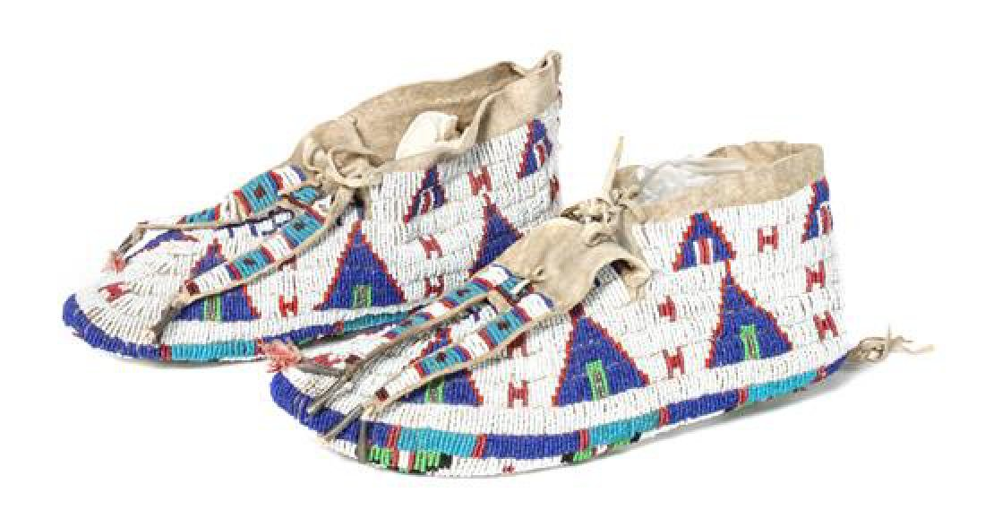 Pair of Sioux Fully Beaded Moccasins Length 10 3/4