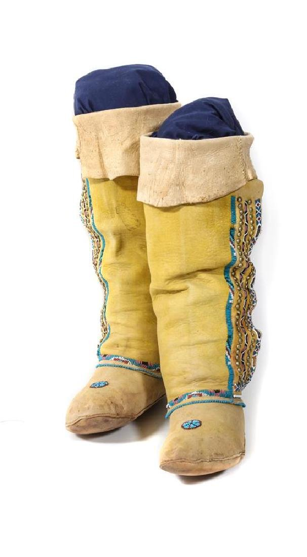 Pair of Comanche High Top Moccasins Height 16 inches