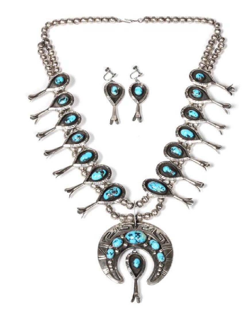 Silver and Turquoise Squash Blossom Necklace and