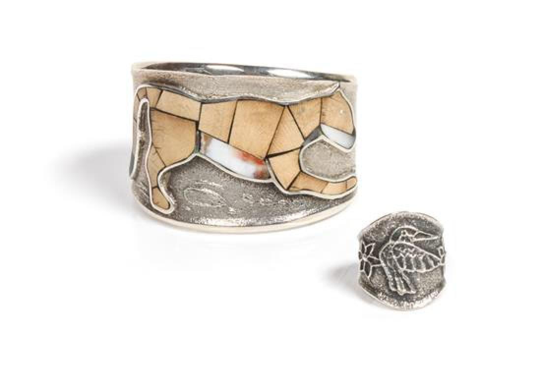 Navajo Silver and Multi-Stone Pictorial Cuff Bracelet,