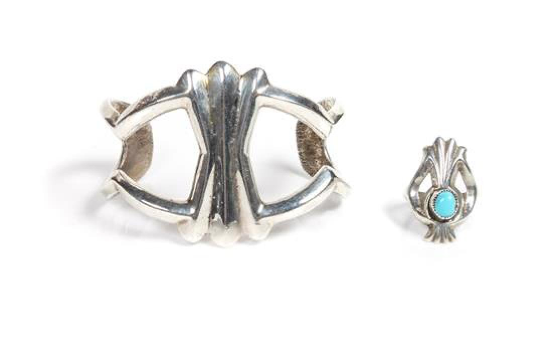 Navajo Silver Cuff Bracelet and Ring Length of bracelet
