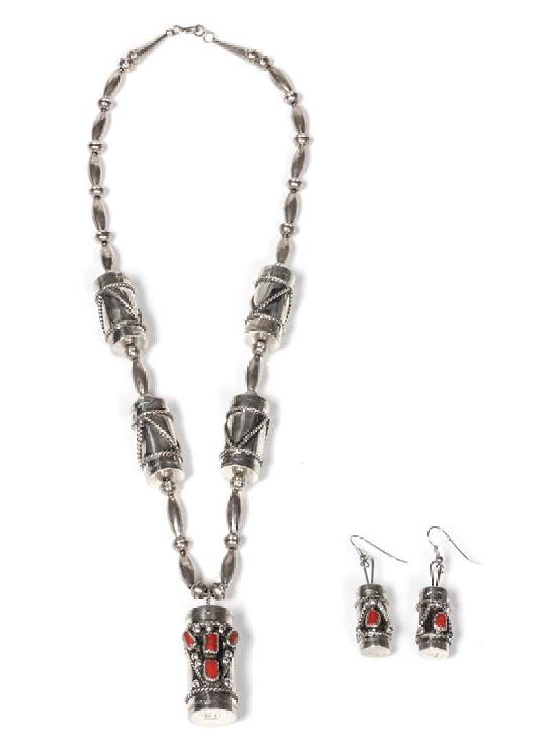 Navajo Silver and Coral Necklace and Earring Set Length