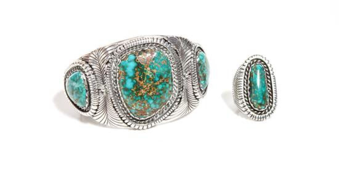 Navajo Silver and Turquoise Cuff Bracelet and Ring, Lee
