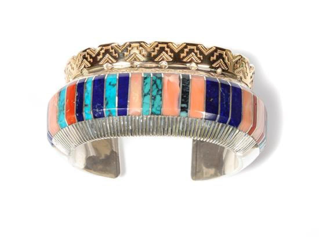 Navajo 14 Karat Gold, Silver and Multi-Stone Bracelet,
