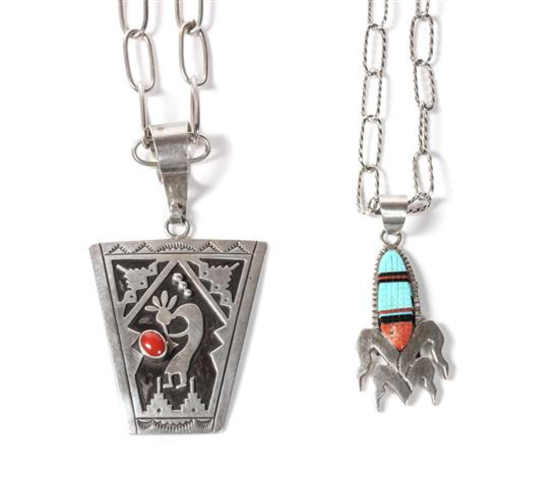 Two Navajo Silver Pendants Height of first pendant 2