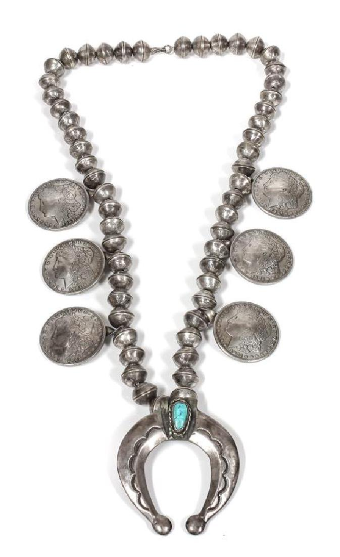 Southwestern Silver, Liberty Coin and Turquoise Squash