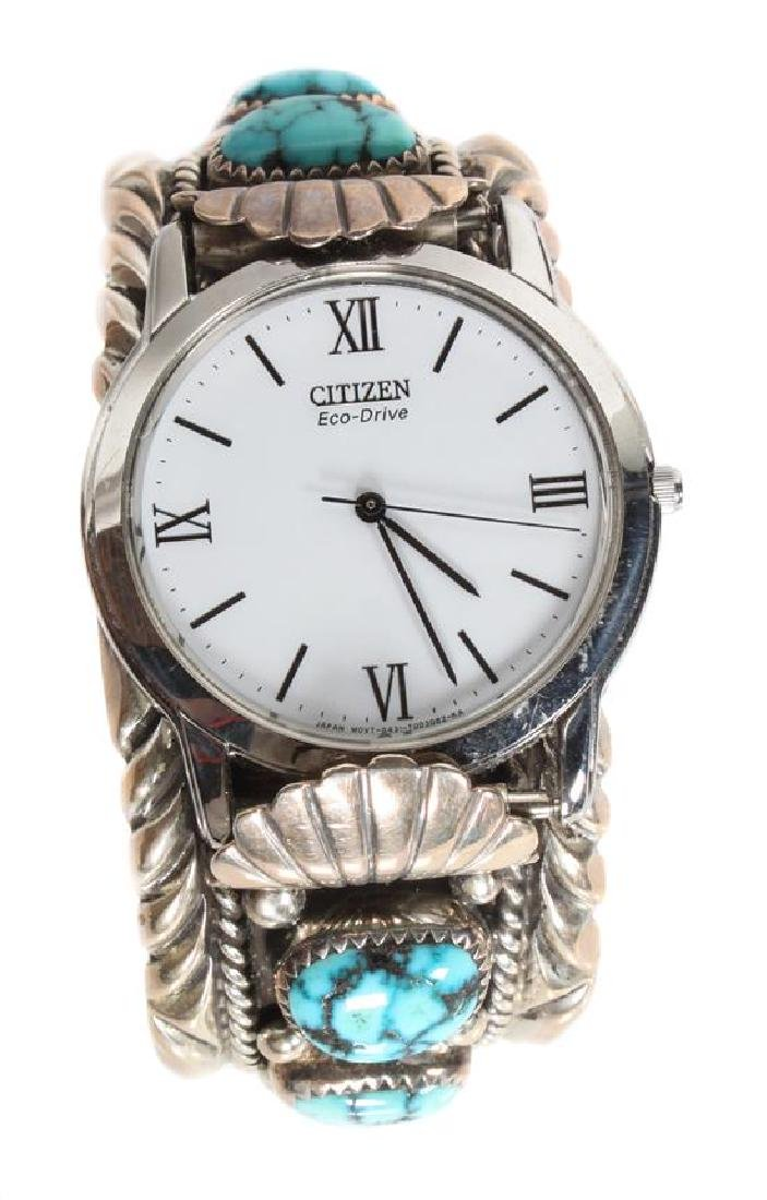 Navajo Silver and Turquoise Watch Band, Orville Tsinnie
