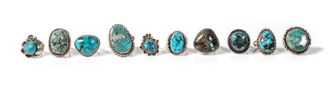 Ten Navajo Silver and Turquoise Rings