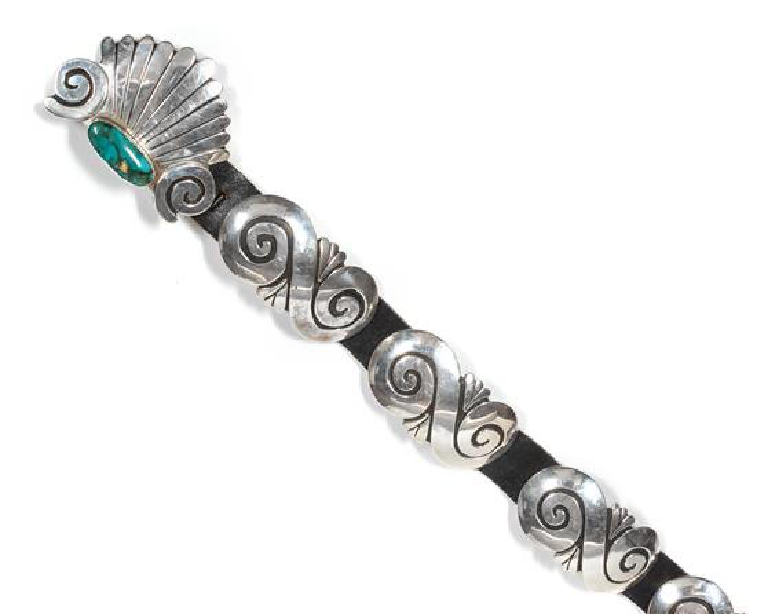 Navajo Silver and Turquoise Concho Belt, Debbie