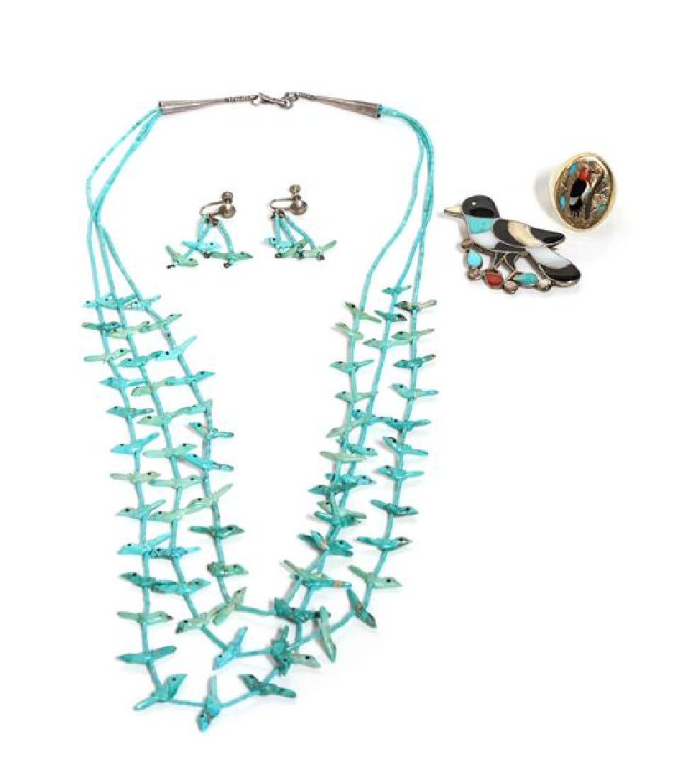 Zuni Three Strand Turquoise Bird Fetish Necklace Length