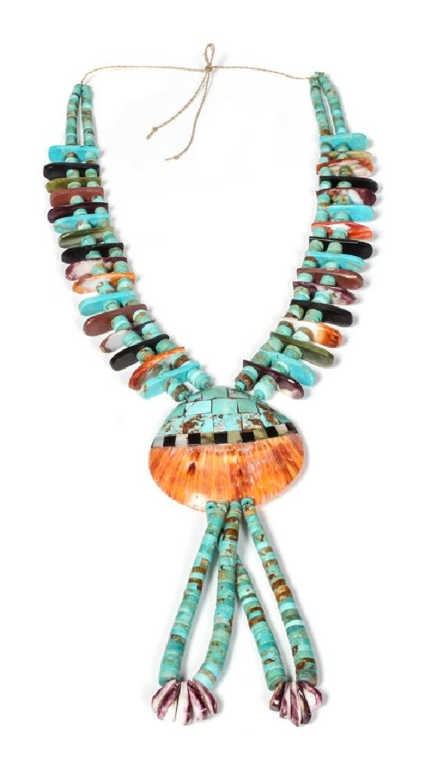 Santo Domingo Shell Inlay Necklace Length 28 inches.