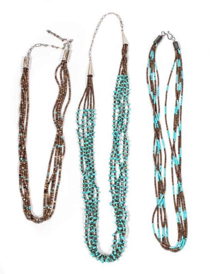 Three Southwestern Turquoise and Shell Heishi Necklaces