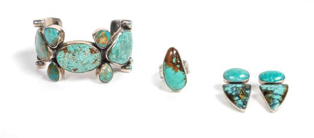 Mexican Silver and Turquoise Cuff Bracelet, Federico