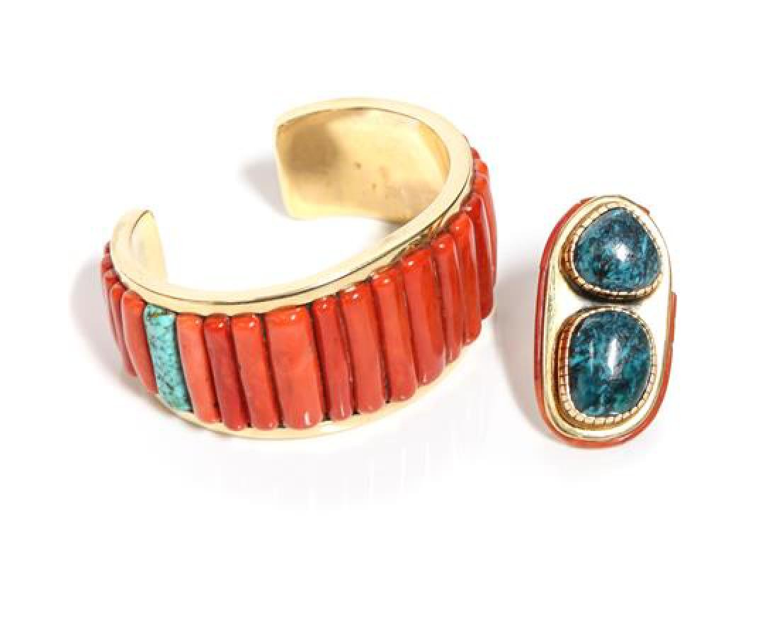 Southwestern Yellow Gold, Coral and Turquoise Cuff