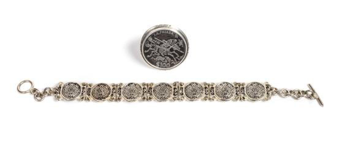 Mexican Silver Link Bracelet and Ring Length of