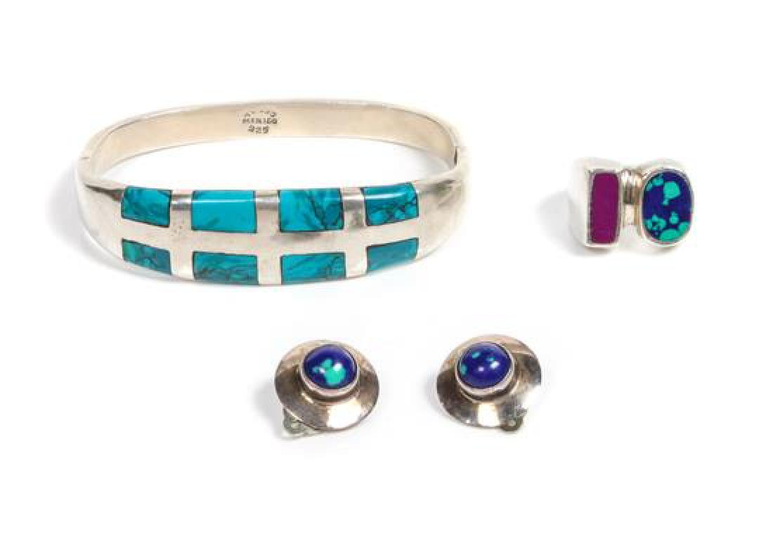 Mexican Silver and Turquoise Inlay Bracelet