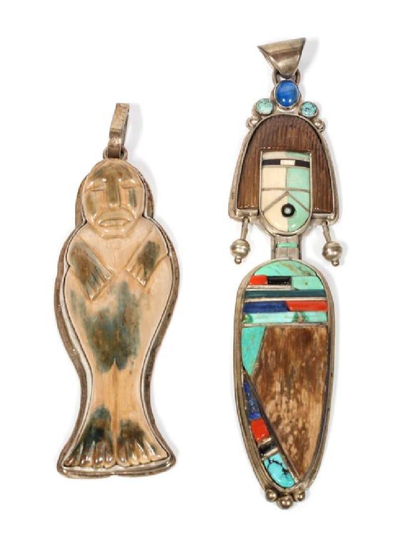 Two Southwestern Style Figural Pendants, Buddy Lee