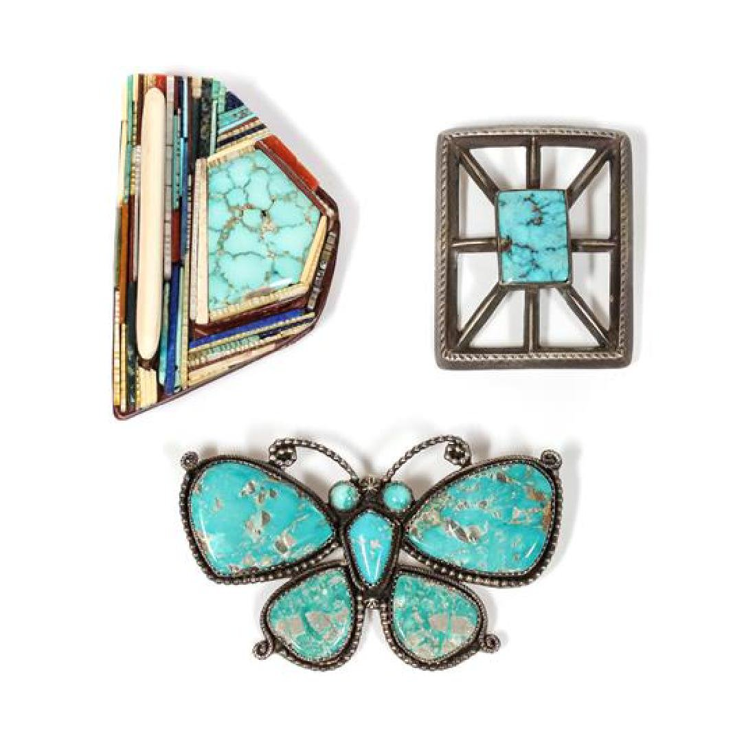 Three Southwestern Brooches Width of largest 3 inches