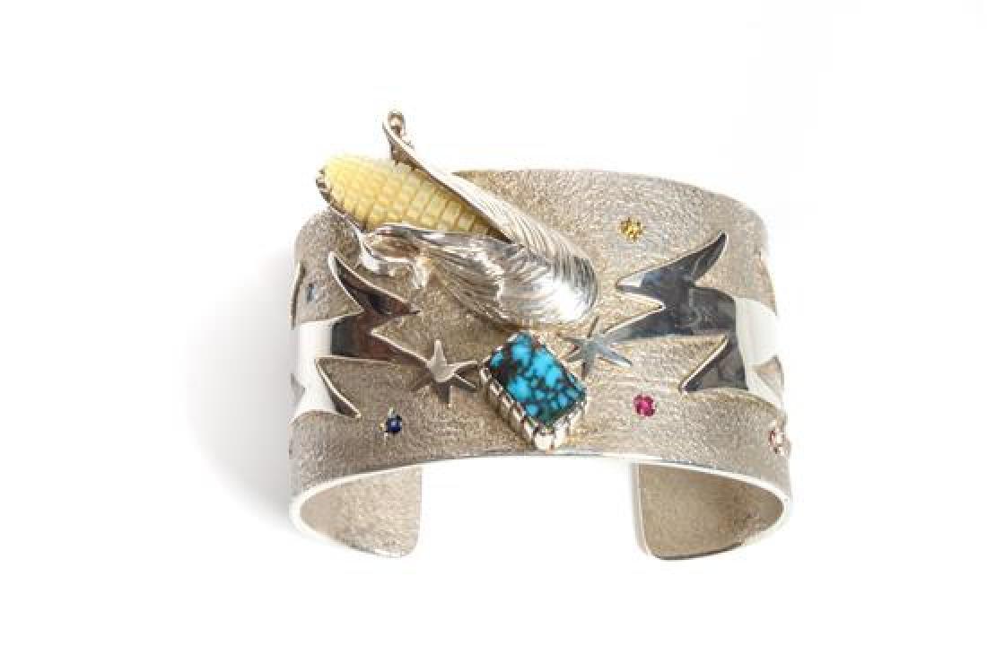 Southwest Style Silver Cuff Multi-Gem Bracelet by