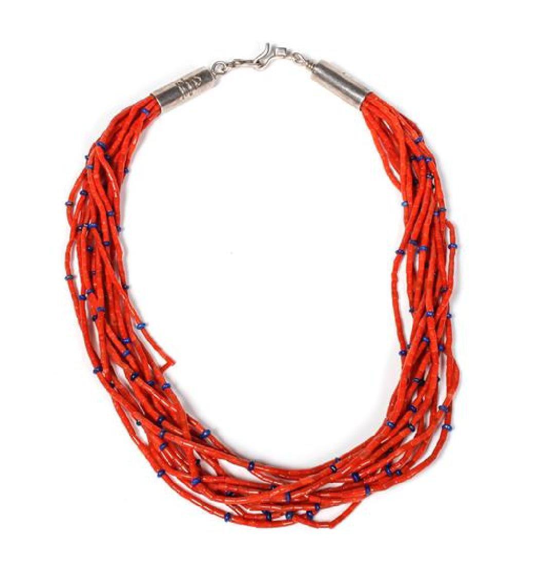 Navajo Ten Strand Coral Necklace, Orville Tsinnie (b.